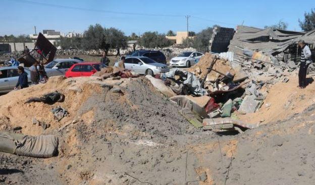 Blast site of US air strikes