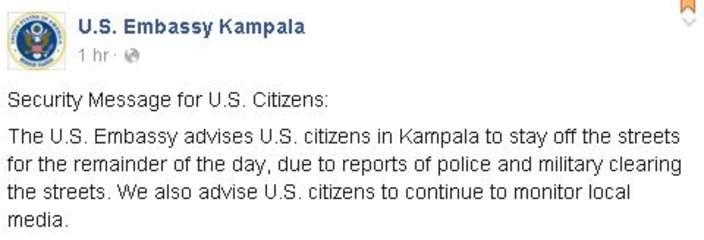 US Embassy in Kampala Warning