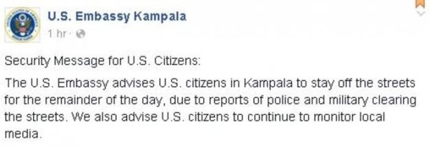 US Embassy in Kampala Warning