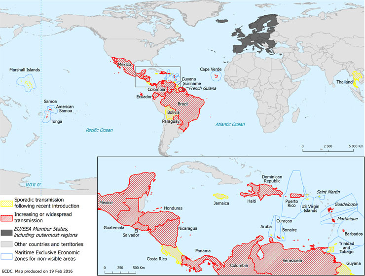 Countries reporting Zika virus infections Dec-Feb