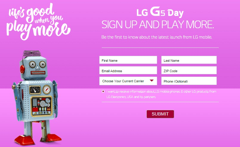The LG G5 pre-registration page
