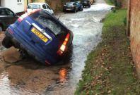 Sally Hall\'s Honda CRV in Epperstone sinkhole