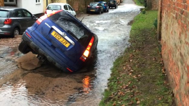 Sally Hall's Honda CRV in Epperstone sinkhole