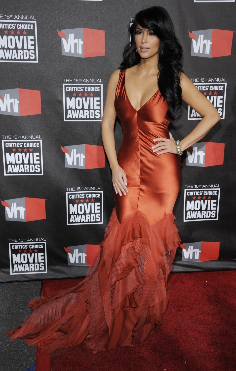 Reality TV personality Kim Kardashian arrives at the 16th Annual Critics' Choice Movie Awards in Hollywood