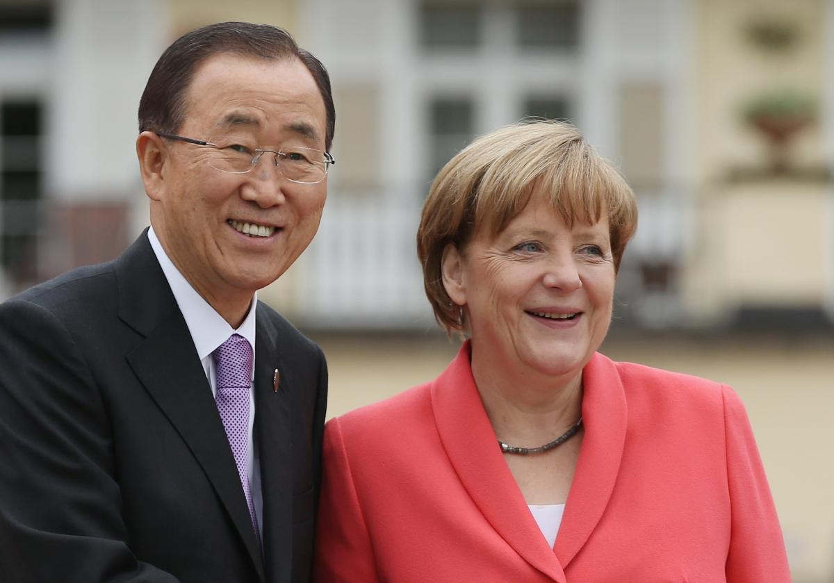 Ban Ki-Moon and Angela Merkel