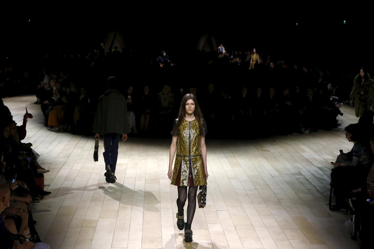 Model walks for Burberry