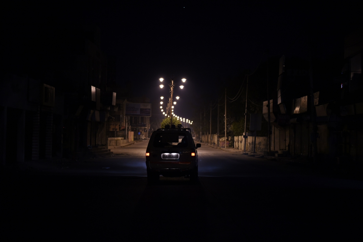 Car driving at night in India