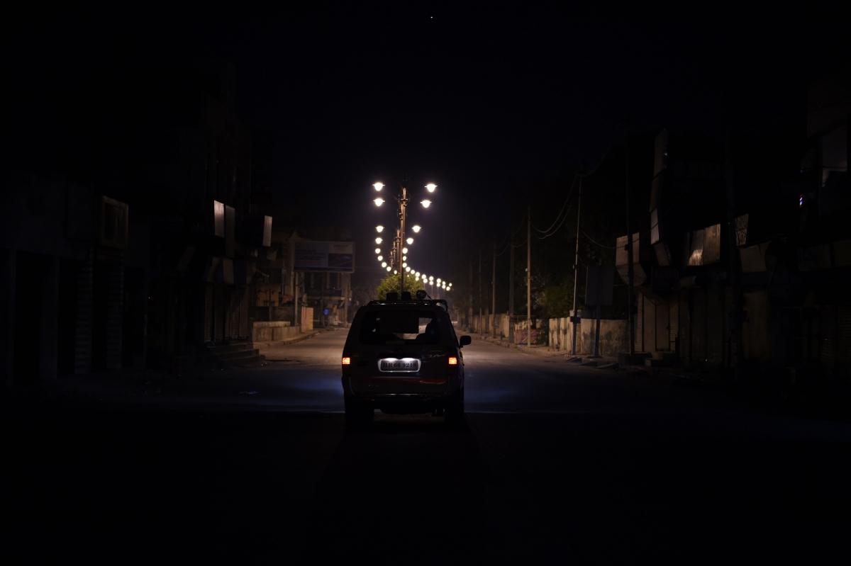 Car driving at night in India