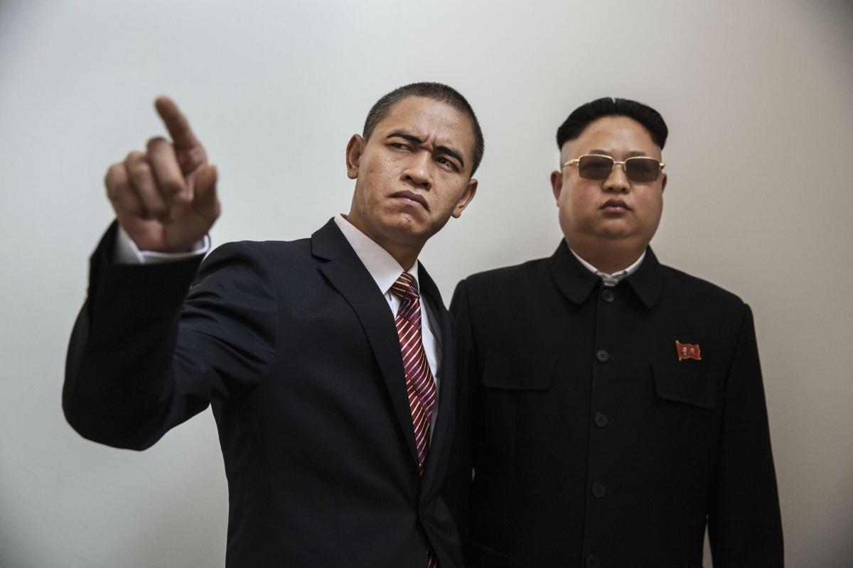 Obama and Kim Jong-Un impersonators