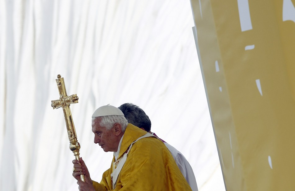 Pope Benedict XVI leads a mass at the Cuatro Vientos aerodrome as part of World Youth Day festivities in Madrid