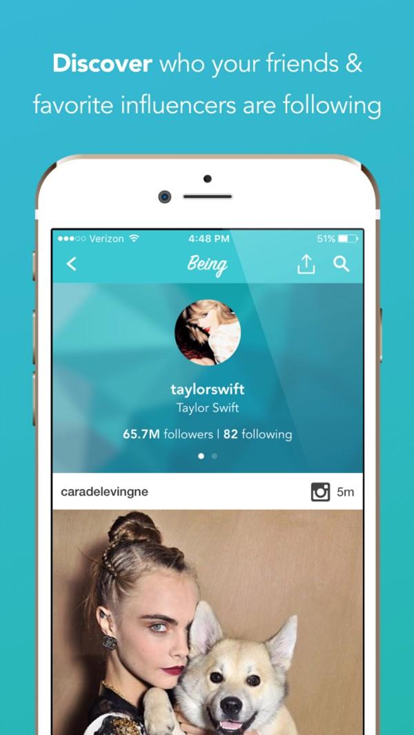 Screenshot from Being App