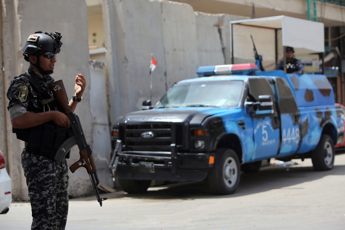 Police in Baghdad sealed off the