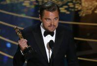 Leonardo DiCaprio with his Oscar