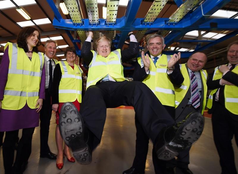 Boris Johnson visits Northern Ireland factory