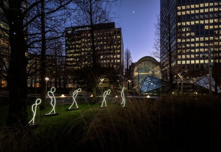 Winter lights in Canary Wharf