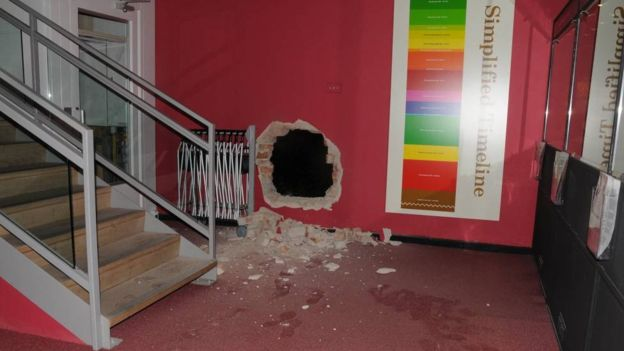 Art thieves smashed through a wall to steal items from the Durham museum