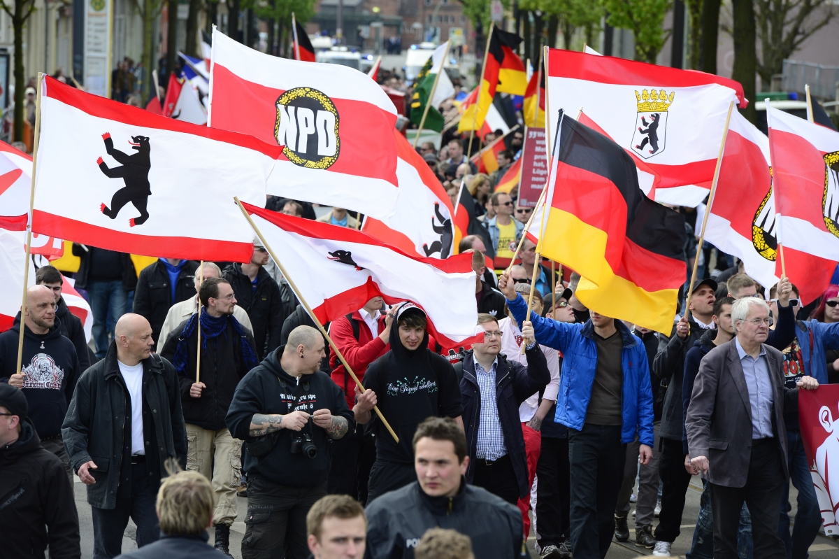 Supporters on the Neo-Nazi NPD at aBerlinrally