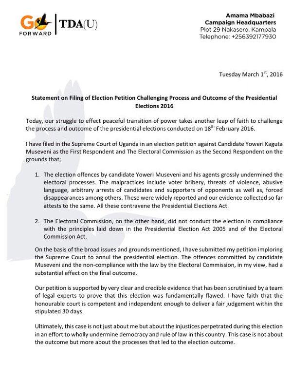Amama Mbabazi petition