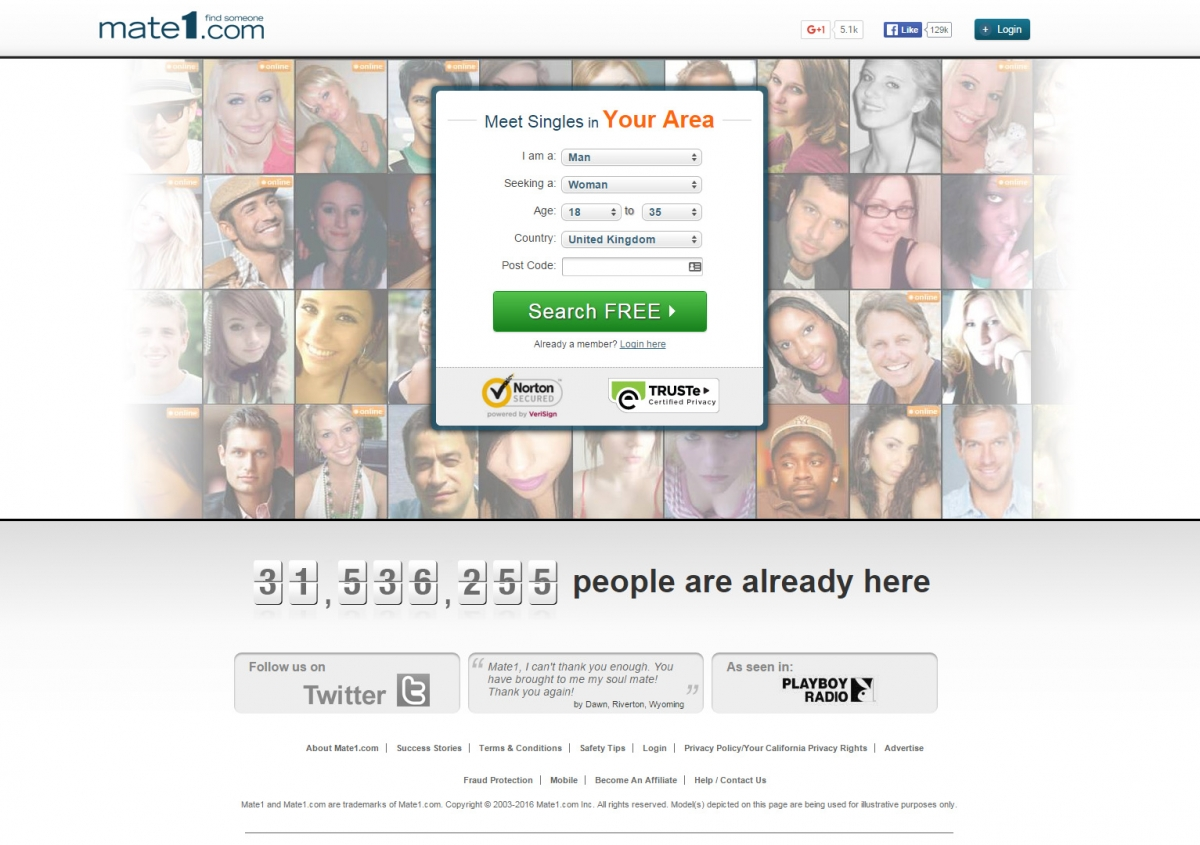 Mate1 login page profiles online dating