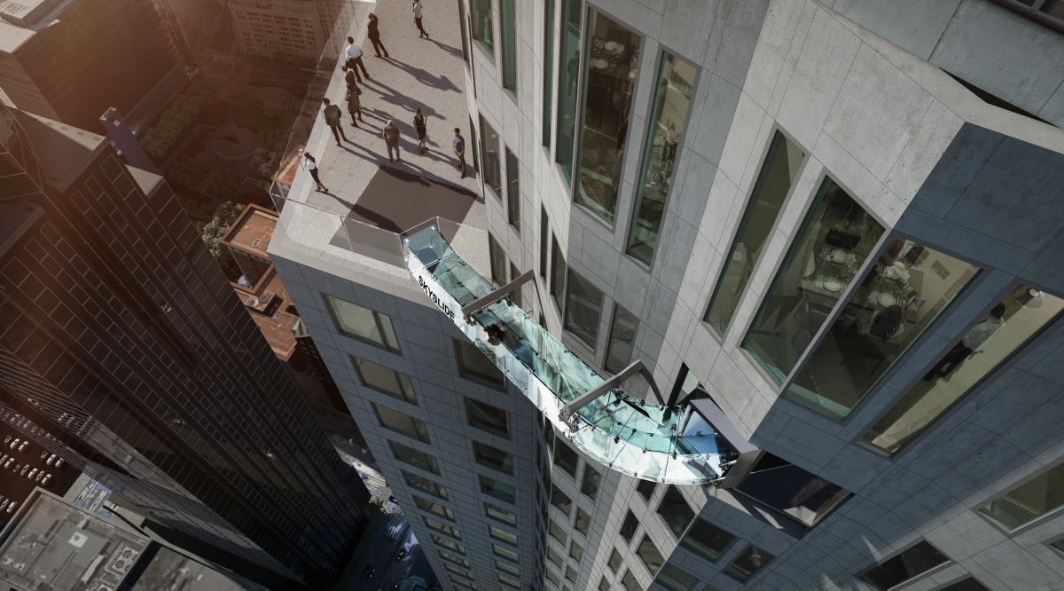 Skyslide world's highest glass slide US Bank