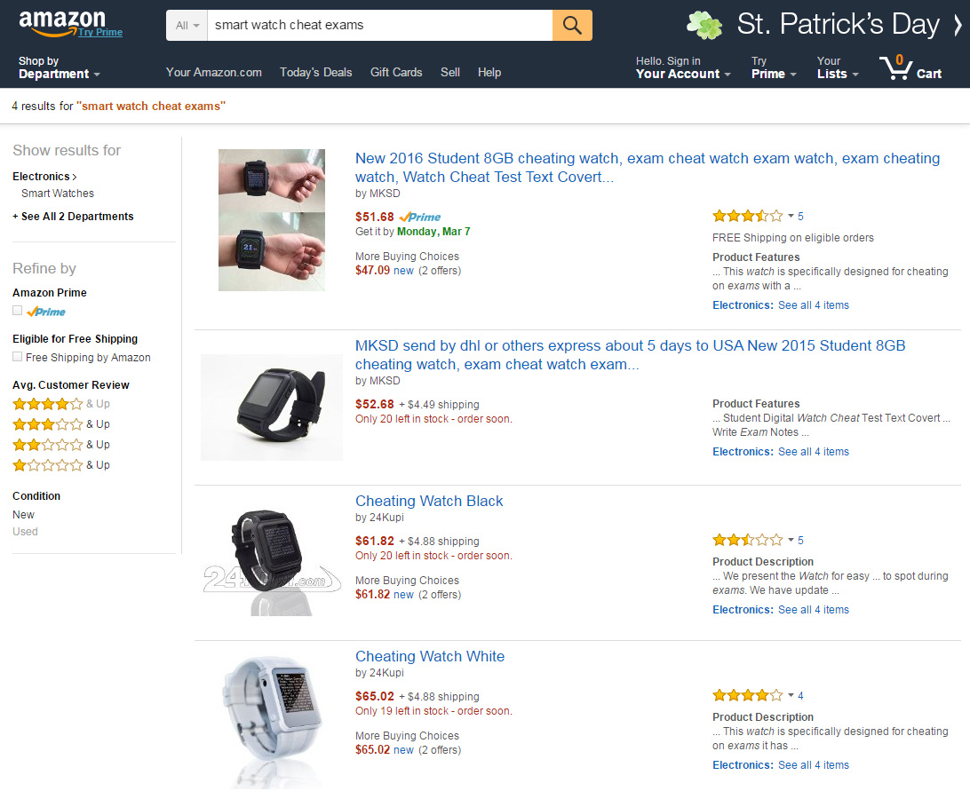 Amazon US cheating smartwatch listings