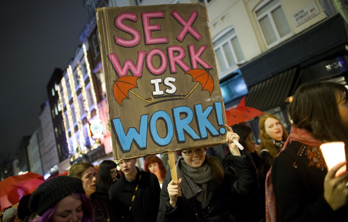 'Sex work is work' sign