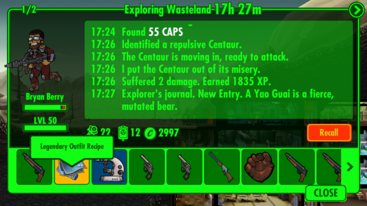 Fallout Shelter Legendary Recipe