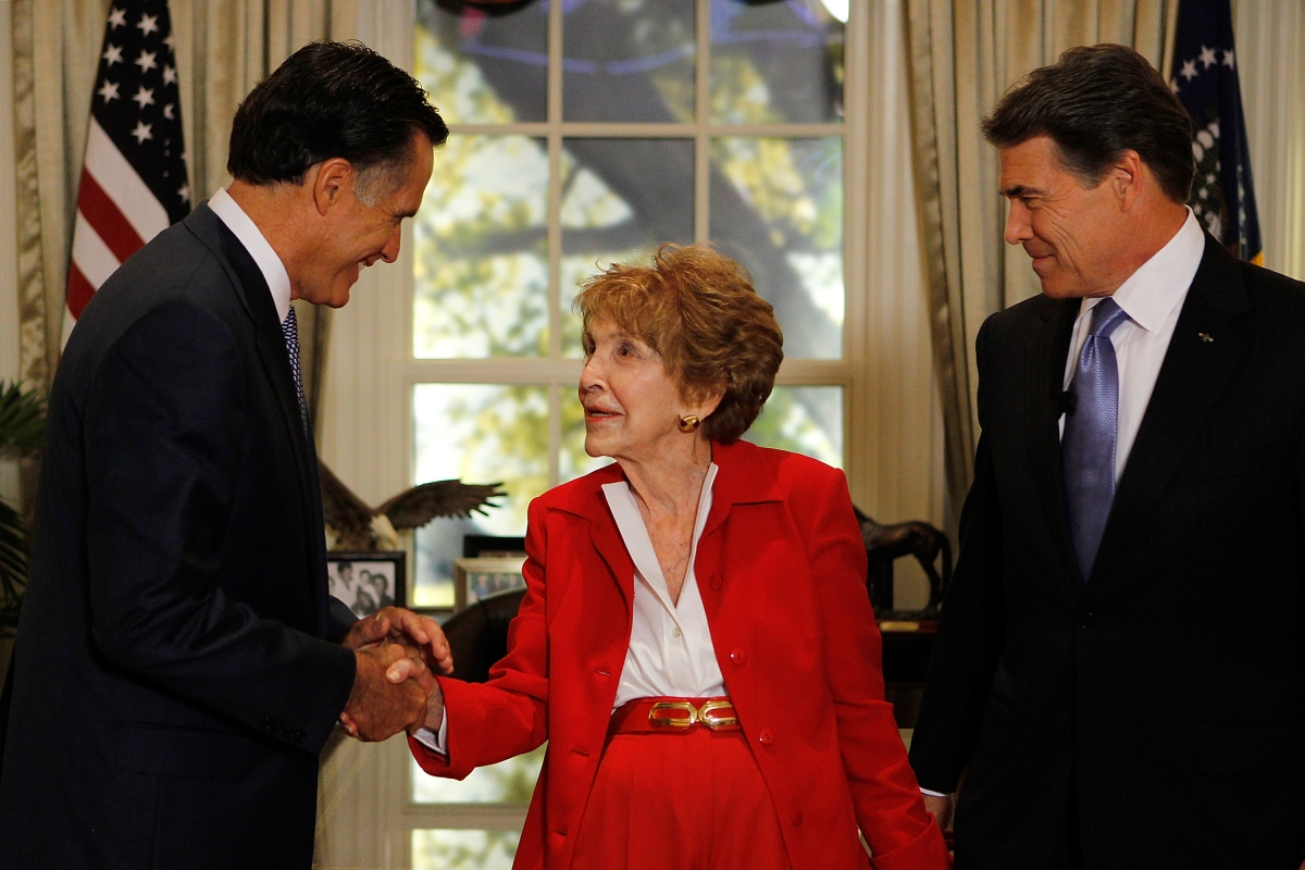 Nancy Regan Mitt Romney Rick Perry