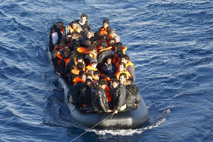 Migrants on dinghy