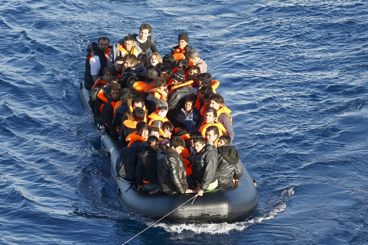 Migrants on dinghy