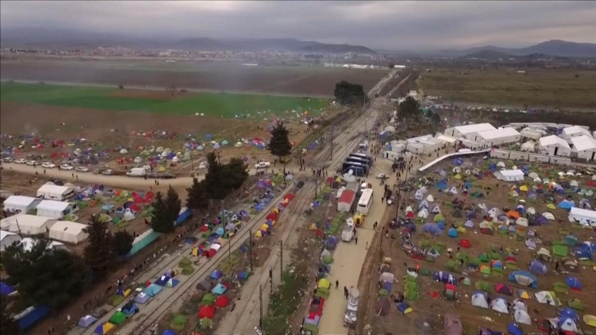 Aerial views of Greece camp