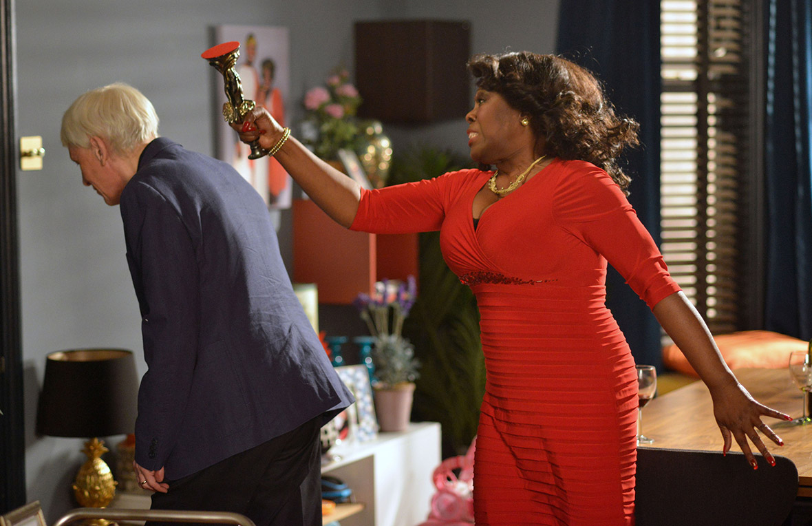 eastenders claudette whacks gavin with candlestick
