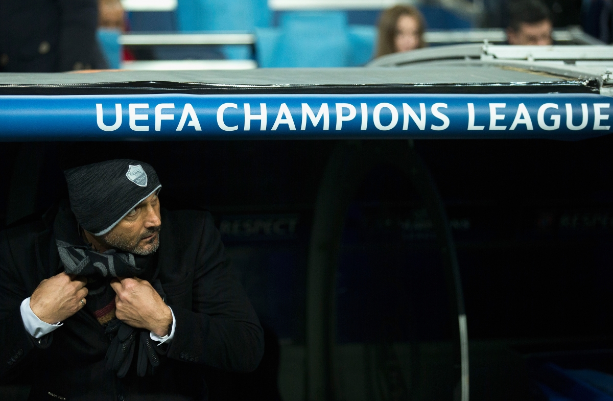 Luciano Spalletti watches on the from dugout