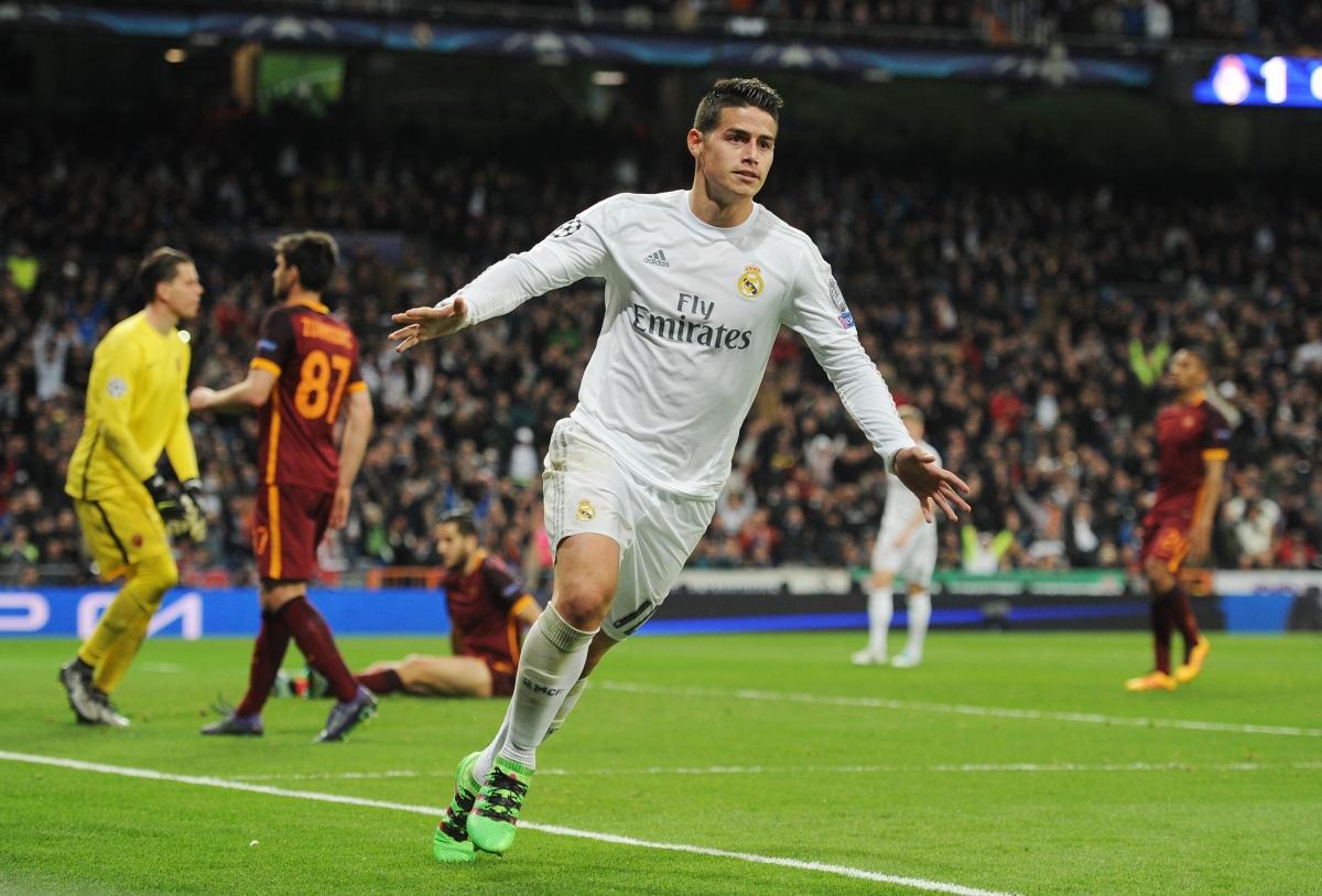 James celebrates his goal