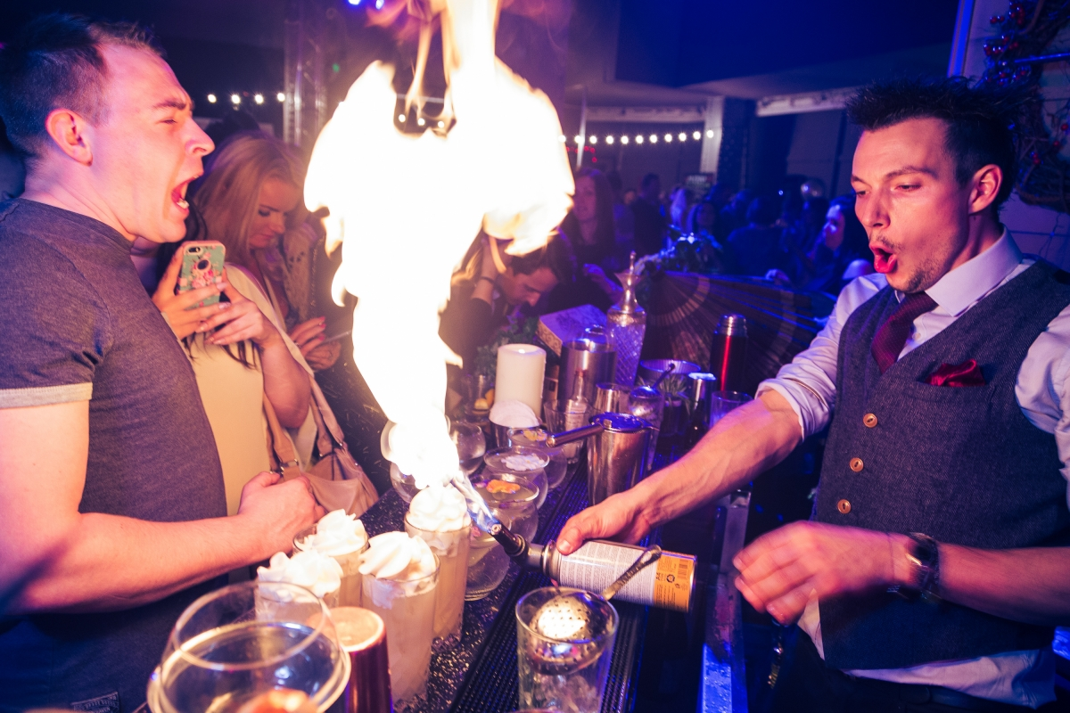 Flaming bartending