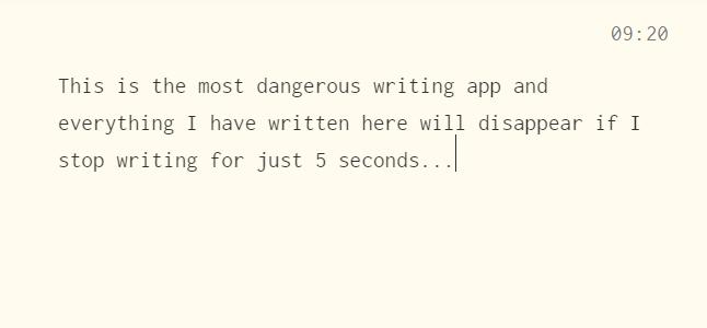 The Most Dangerous Writing App Screenshot