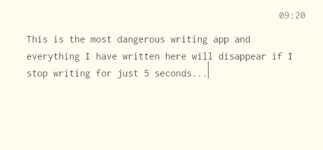 The Most Dangerous Writing App Screenshot