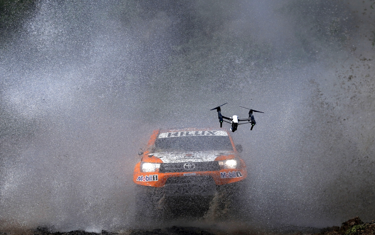 camera drone captures a rally care
