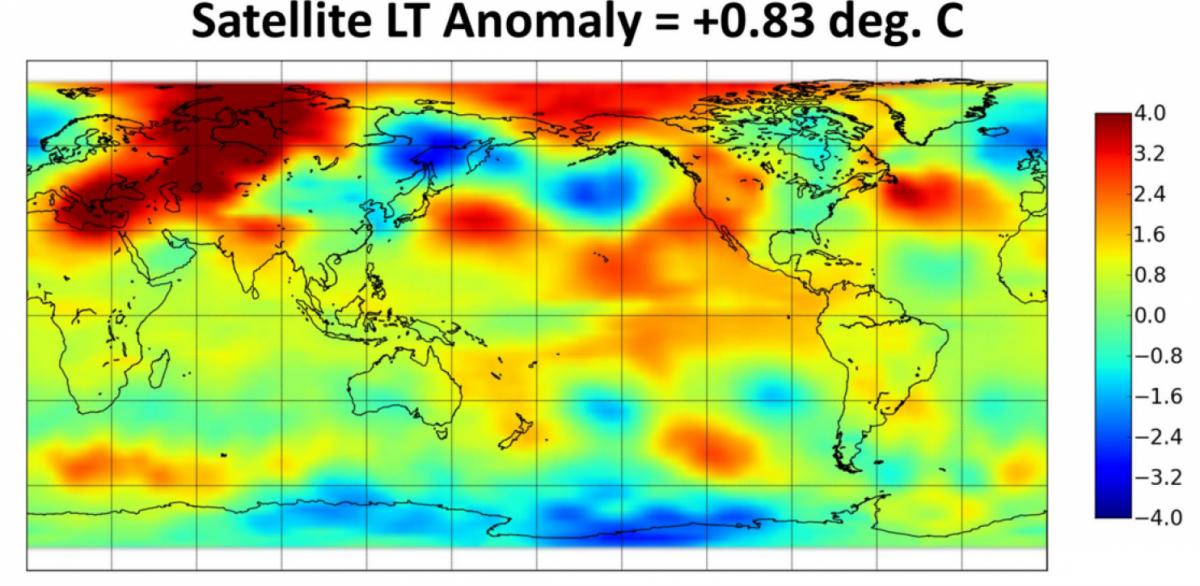 February 2016 temperature satellite readings