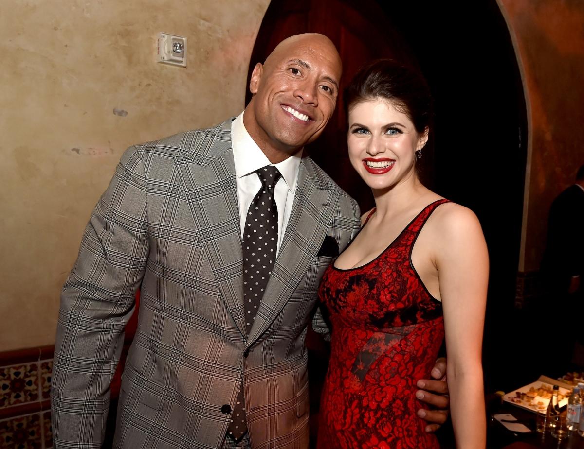 Dwayne Johnson and Alexandra Daddario