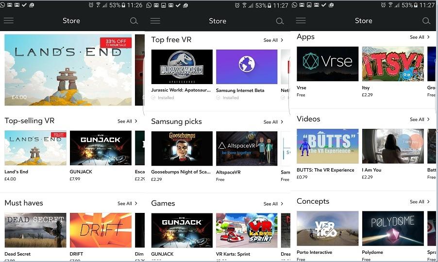 Oculus store apps Gear VR