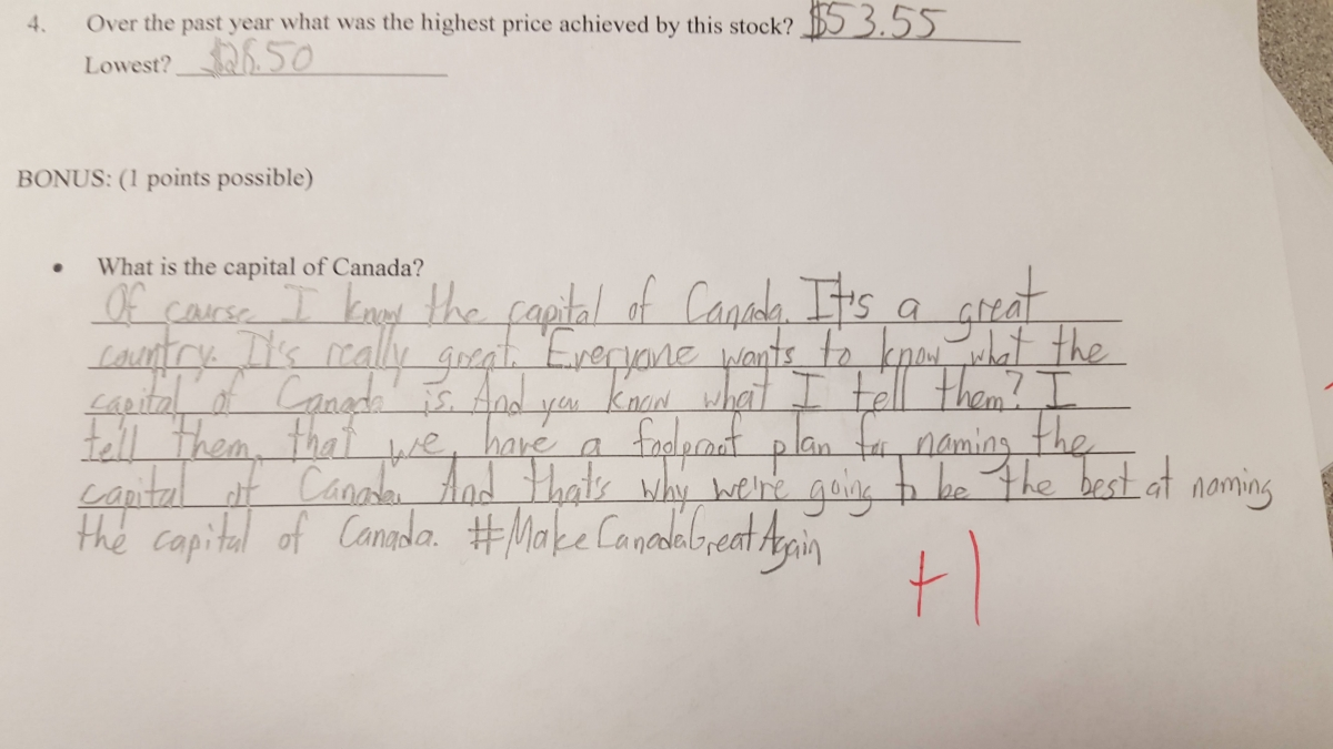 canada student exam answer