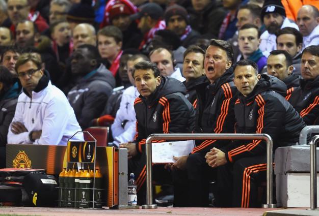 Louis van Gaal on the bench