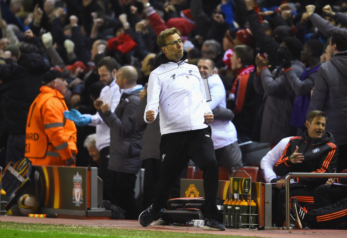 Jurgen Klopp celebrates on the touchline