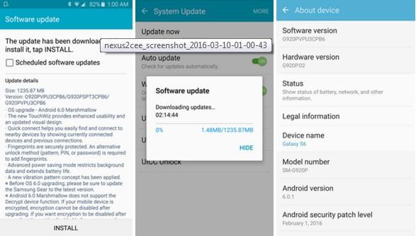 Samsung Galaxy S6 Marshmallow screenshot
