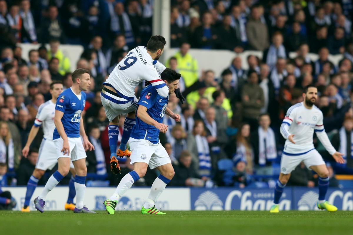 Diego Costa challenges Gareth Barry