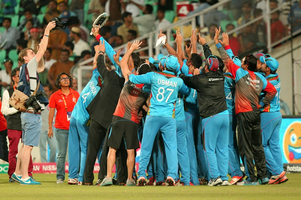 Afghanistan's players celebrate their win