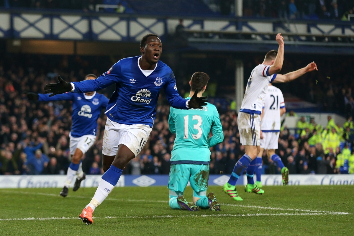 Lukaku celebrates scoring against Chelsea