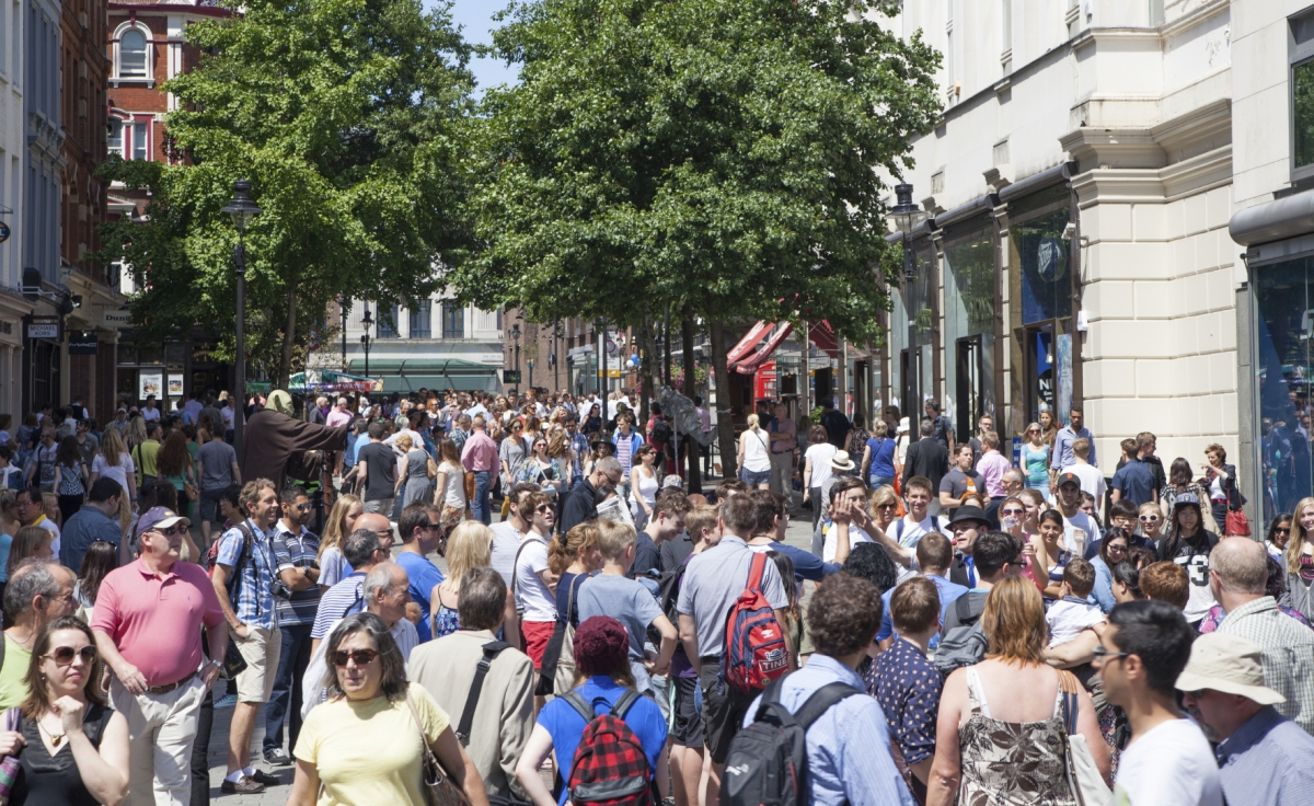 Leicester Square London crowd summer