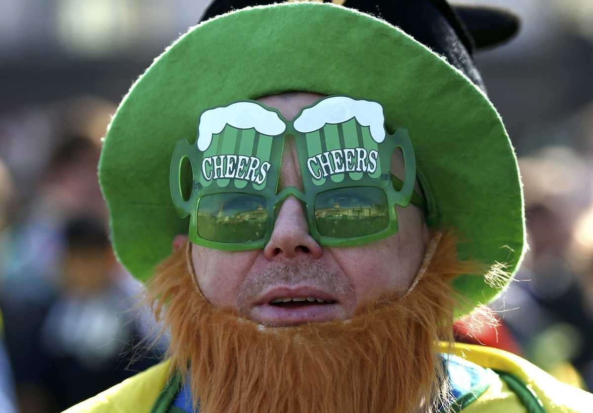 Man celebrates St Patrick's Day